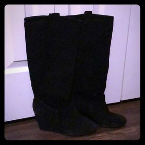Rampage Swift Black Suede Tall Wedge Boots